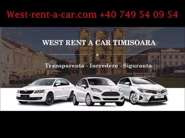 http://west-rent-a-car.com/  West Rent a Car ofera servicii de inchirieri auto in Timisoara si Aeroport, masini de inchiriat ieftine preturi de la 16 €/zi toate taxele incluse.  Inchiriaza Acum o Masina:  http://west-rent-a-car.com/rezervari/
