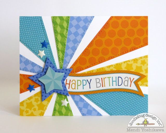 Doodlebug Design Inc Blog: Boy's Starburst Birthday Card by Mendi Yoshikawa