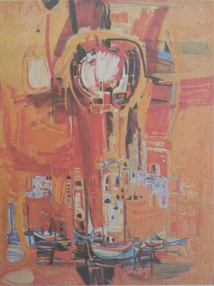 Ercüment Kalmık: Soyutlanmış İstanbul Görünümü. Tuval uzerine yagliboya. 80×120 cm. Istanbul resim ve heykel muzesi