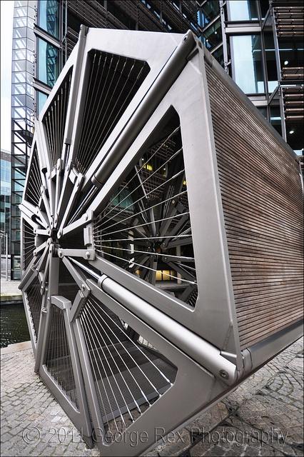 Rolling Bridge, London, UK by Thomas Heatherwick :: rolled-up