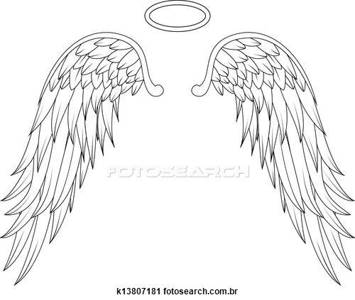 free angel wings with halo clip art - photo #40