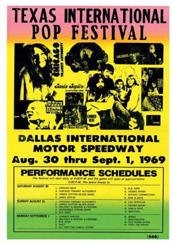 Texas International Pop Festival, Lewisville, TX Labor Day Weekend 1969