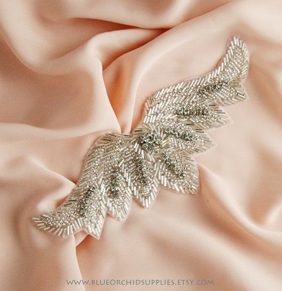 Crystal Beaded Applique Rhinestone Applique  by BlueOrchidSupplies, $16.25