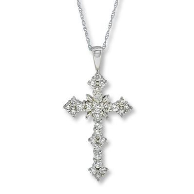 14K White Gold 1 1/2 Carat t.w. Diamond Cross Necklace *I have one very similar to this and love it! Just a little bigger (a little over 2 ct & platinum.)