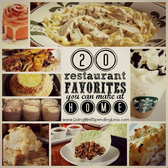 Restaurant Favorites you can make at Home....  http://www.livingwellspendingless.com/2012/10/05/eat-out-at-home/
