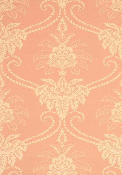 Damask - Terracotta and Buff wallpaper, from the Wild Flora collection by Anna French