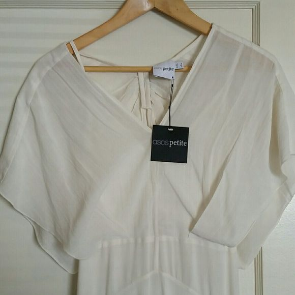 ASOS KAFTAN MAXI DRESS,  KIMONO SLEEVE 57% viscose, 43% cotton,  ivory color,  brand new,  never worn.   Chose/choosing a different dress for outdoor wedding. ASOS Petite Dresses Maxi
