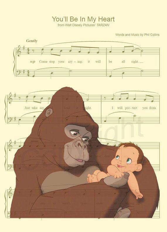 Tarzan and Kala Sheet Music Art Print by AmourPrints on Etsy