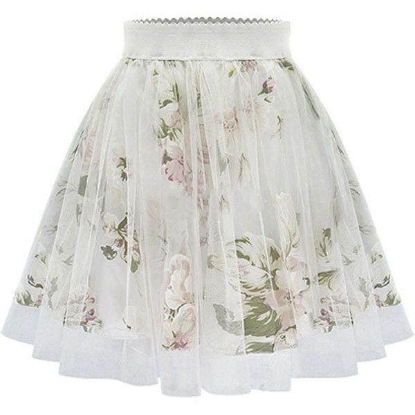 Beige Floral Print Pleated Skater Skirt found on Polyvore