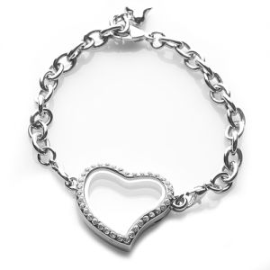 Sparkling Curved Heart Glass Locket Bracelet.....holds charms & birthstones.