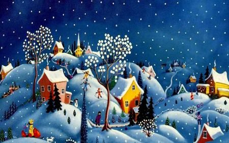 Winter's Eve - hills, snowman, skiers, trees, houses, snow, winter, snowflakes, people