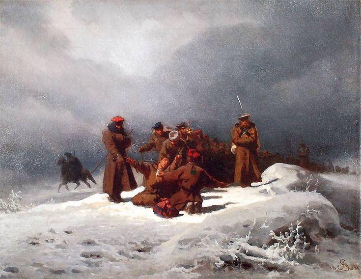 """Artur Grottger, """"Pochód na Sybir"""", 1866. Olej na płótnie. 45 x 55 cm."""