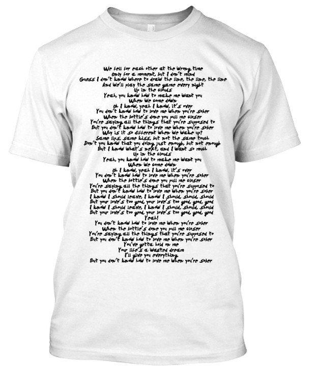 Selena Gomez Sober Song lyric tshirt