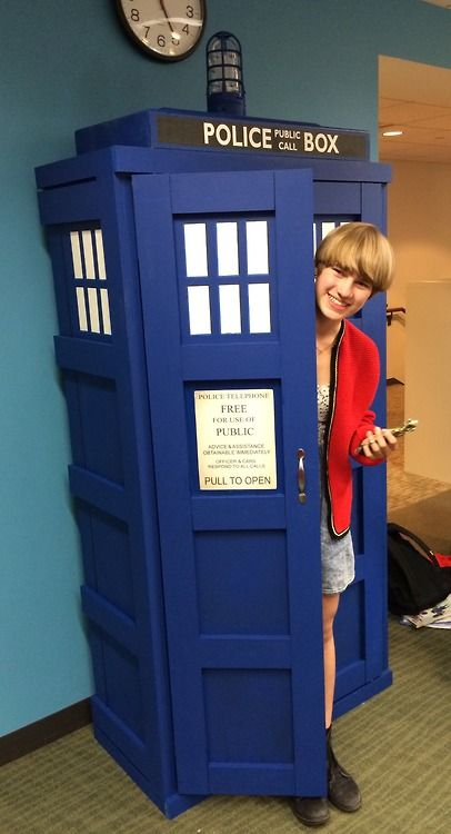 The Brookline Public Library (already famous for the Awesome Box) has built a nearly full-size TARDIS bookshelf in their teen room.