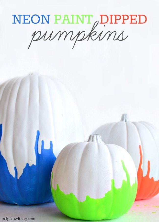 Neon Paint Dipped Pumpkins
