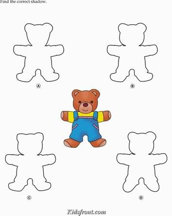 Kids Activity -Match the shadow of Cartoon, Black & white Picture