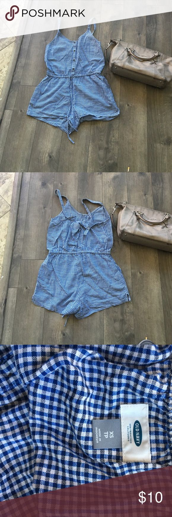 Gingham romper Blue and white gingham romper. Worn twice. A little small in the bust for me. Otherwise so so cute. Hello spring picnic date outfit! Size Old Navy XS. Old Navy Other