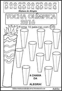 Tocha olímpica 2016 desenho para colorir