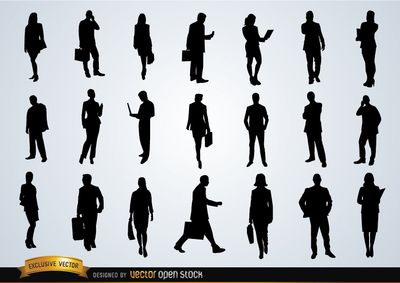 Set with 21 silhouettes of business people in various activities: calling, texting messages, looking their tablets or files, walking with briefcases, etc. Perfect for any promo related to business, companies or services. Commons 3.0. Attribution License.