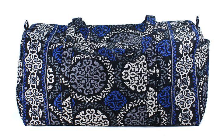 Vera Bradley Canterberry Cobalt Trendy Large Duffel Bag Tote Luggage New #VeraBradley