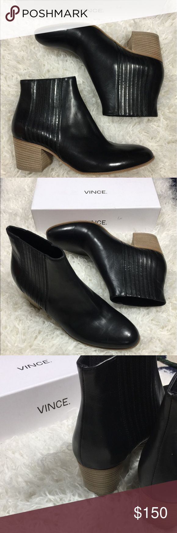 Vince Haider leather black ankle booties Brand new with box! Black leather Haider Vince ankle moto booties! With tan stacked heels! Size 8.5 Vince Shoes Combat & Moto Boots
