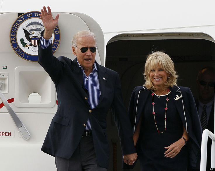 Vice President Joe Biden and his wife Jill Biden arrive in Charlotte, N.C., Tuesday, Sept. 4, 2012, to attend the Democratic National Convention.