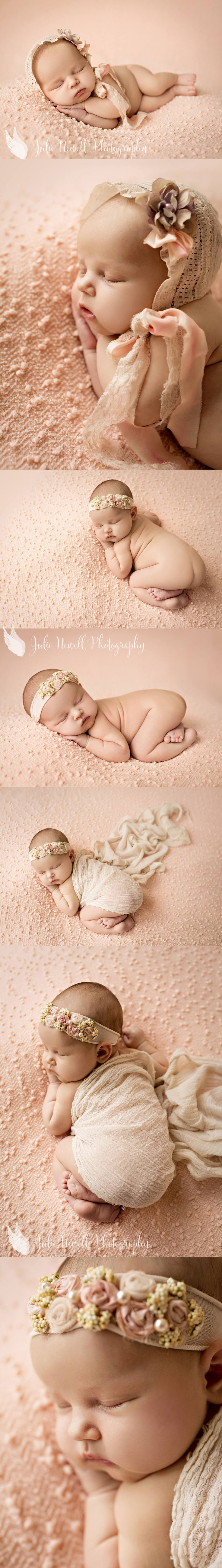 Her little bonnet and headband are so sweet (and a bit vintage), and the peach colored blanket brings out such beautiful tones in her skin.