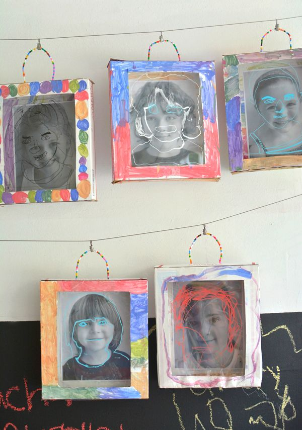 Self Portrait Shadow Boxes for the young ones.  Could use cereal boxes.