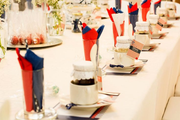 Sailor Themed Table Setting in Navy Blue and Red