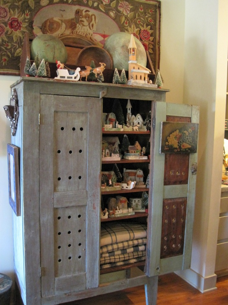 Cool Old Cupboard Full Of Treasures  Love The Color