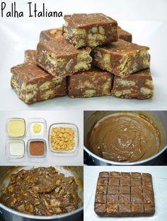 Palha Italiana  palha-italiana-isamara-amancio-site-ok   Ingredientes: - 1 caixinha (ou lata) de leite condensado (395g) - 2 colheres (sopa) de creme de leite - 2 colheres (sopa) de manteiga - 2 colheres (sopa) de chocolate em pó (50% de cacau – utilizei o Dois Frades) - 100g de biscoito Maizena (ou 20 biscoitos)  Modo de fazer: - Em uma panela grossa coloque o leite condensado, o creme de leite, a manteiga e o chocolate em pó. - Leve ao fogo médio mexendo sempre até desgrudar do fundo da…