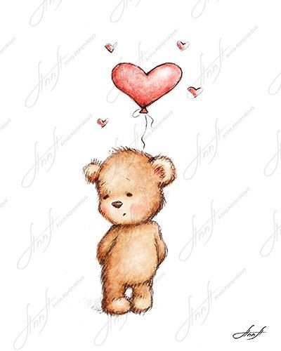 The drawing of cute teddy bear with the red heart balloon. Printable Art. Digital file. Instant Download