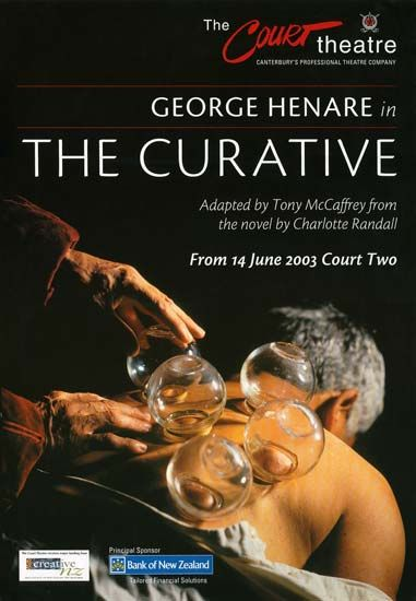 This poster advertises The curative, a play based on a novel by Christchurch writer Charlotte Randall. The Court Theatre was founded in 1971, one of a number of professional theatre companies formed in New Zealand around that time.