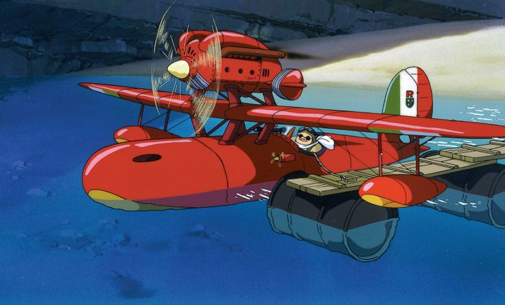 Porco and his sea plane from Porco Rosso.Porco Rosso, Not Them Miyazaki, Movie Scene, Porcorosso04Hiresjpg 20001208, Animal Lair, Café Animal, Rosso 1992, Studios Ghibli, Ghibli Boards