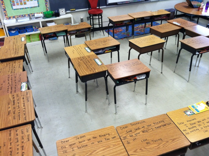 Encouragement notes on  each student's desk with dry erase marker for when they first walk in on the day of state standardized testing.