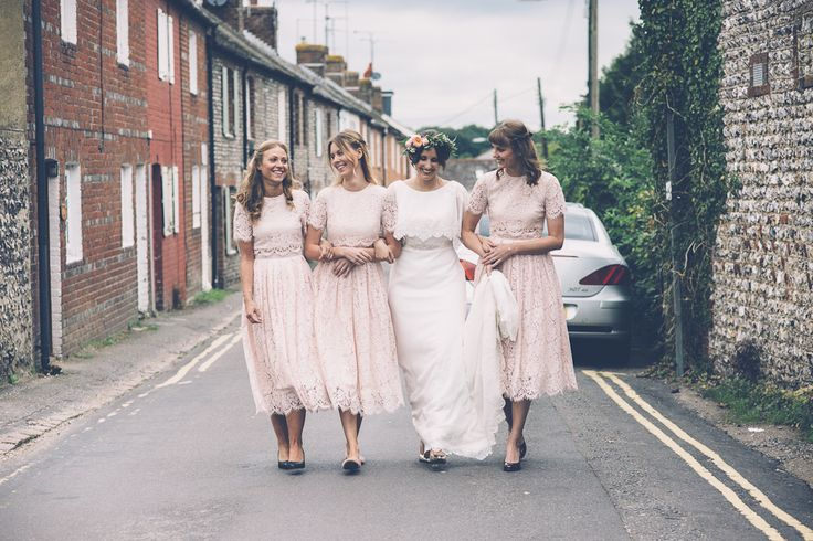 Bride in Ginger by Enzoani Bridal Gown   Pink ASOS Lace Bridesmaid Dresses    Rustic Farm Wedding at The Secret Barn in Sussex   Louise Griffin Photography   http://www.rockmywedding.co.uk/natalie-alex-2/