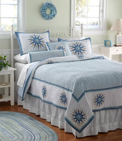 Compass Stitched Quilt: Quilts | Free Shipping at L.L.Bean I would really love to have this now. Sigh.