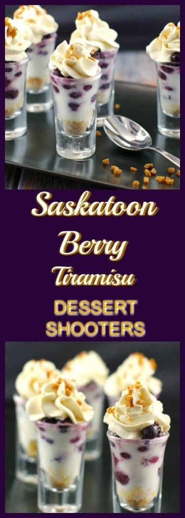 Deceptively simple, layered in a shot glass, this dessert has Saskatoon berries (Juneberries), poached in coffee and kahlua, combined with marscarpone and white chocolate pudding, lady fingers and maple whipped cream. Although it looks elegant, it's the ultimate easy, quick and fancy tasting dessert shooter. Because sometimes you just want a little dessert. A delicious Saskatoon berry recipe!