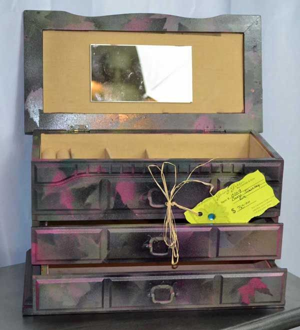 CAMO Jewelry Box, Hot Pink and Greens