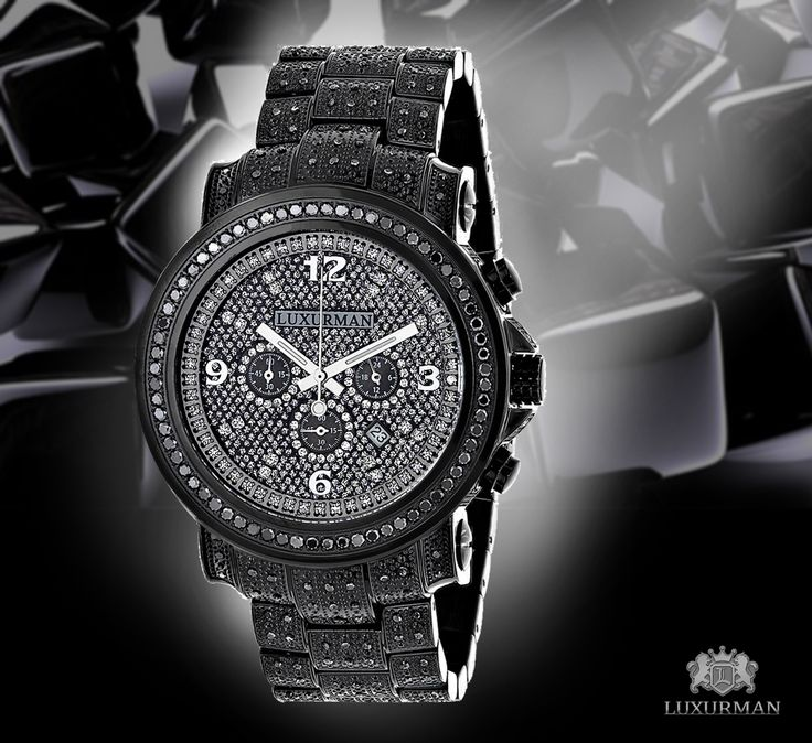 fully iced out black diamond mens watch by luxurman 4 25ct fully iced out black diamond mens watch by luxurman 4 25ct oversized diamanti neri watches e nero