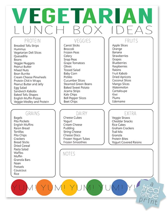Vegetarian Lunch Box Ideas - Just pick and choose from each of the categories to make a lunch!