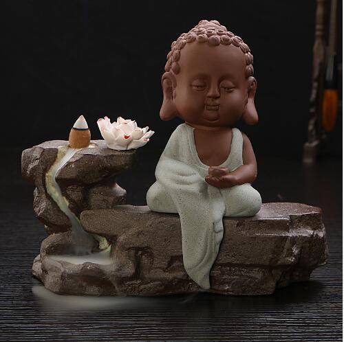 Ceramic Sandalwood Buddha Lotus Smoke Backflow Incense Burner