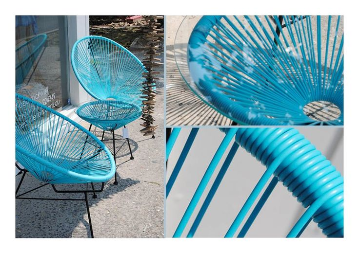 Treasured Interiors - Scoop chair and table set - outdoor furniture - available in aqua, yellow, pink, white and black