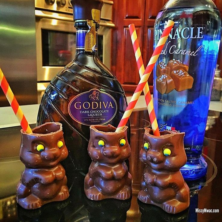 After you eat the ears!  Hollow Chocolate Bunnies you turn into shot glasses.  Chocolate Bunny Shots.    RECIPE:  1 shot Godiva Dark Chocolate Liqueur  1 shot Salted Caramel Vodka  A splash of half and half  xoxo  #chocolatebunny   #chocolatebunnyshots   #vodka   #godiva