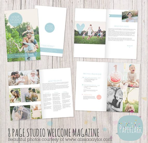 Mini Photography Welcome Magazine template. 8 Pages by PaperLarkDesigns on Etsy, $24.95 See it here: https://www.etsy.com/listing/165342511 or as a flip book here: http://issuu.com/613333/docs/studio_welcome_magazine_template_by