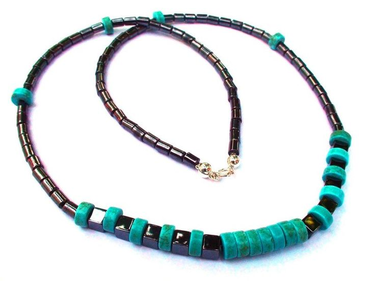 Mens Necklaces – Stylish silver necklace with Hematite, Turquoise – a unique product by OlgaJewelryBoutique on DaWanda