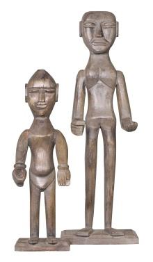 Wooden Man Sculpture/Statue Parsons Grey Large