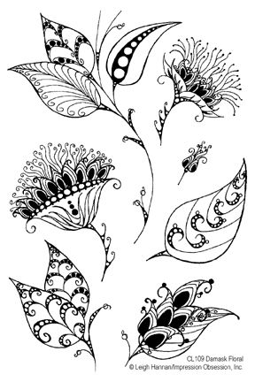 Floral: Damasks Floral, Leaf Drawings, Zen Doodles Flowers Zentangle, Stamps Sets, Journals Ideas, Flowers Doodles, Clear Stamps, Floral Zentangle Patterns, Mehndi Patterns
