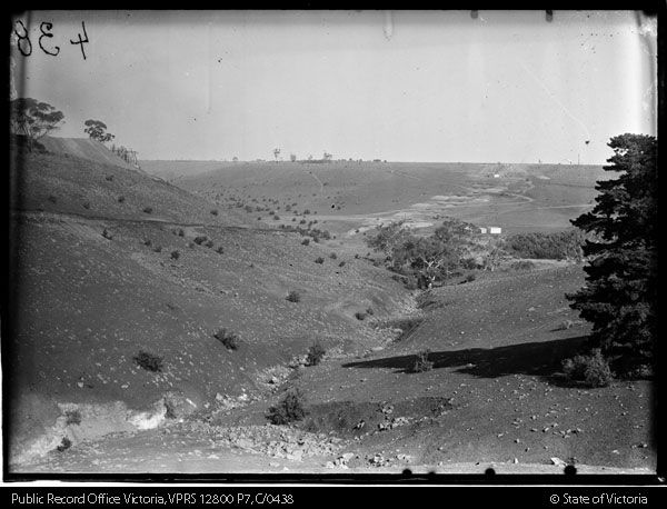Foundations of viaduct, Spring Gully Maribyrnong River.  Construction of Albion Broadmeadows Goods Line