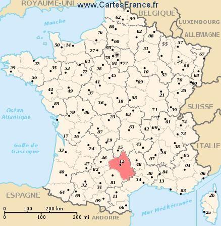 AVEYRON : Carte, plan departement de l' Aveyron 12
